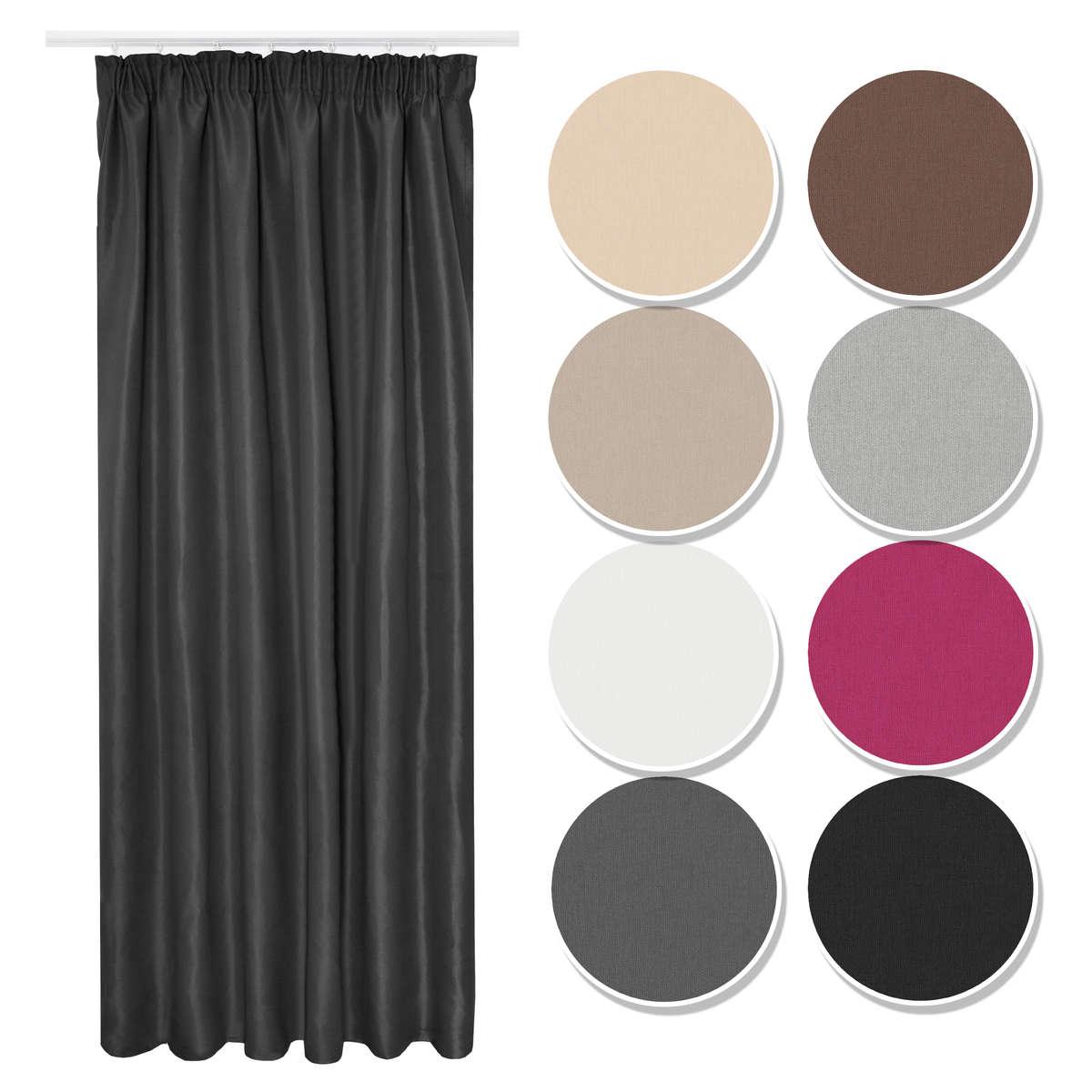 Vorhang Gardine Curtain Blickdicht Kräuselband schwarz 18x18 cm