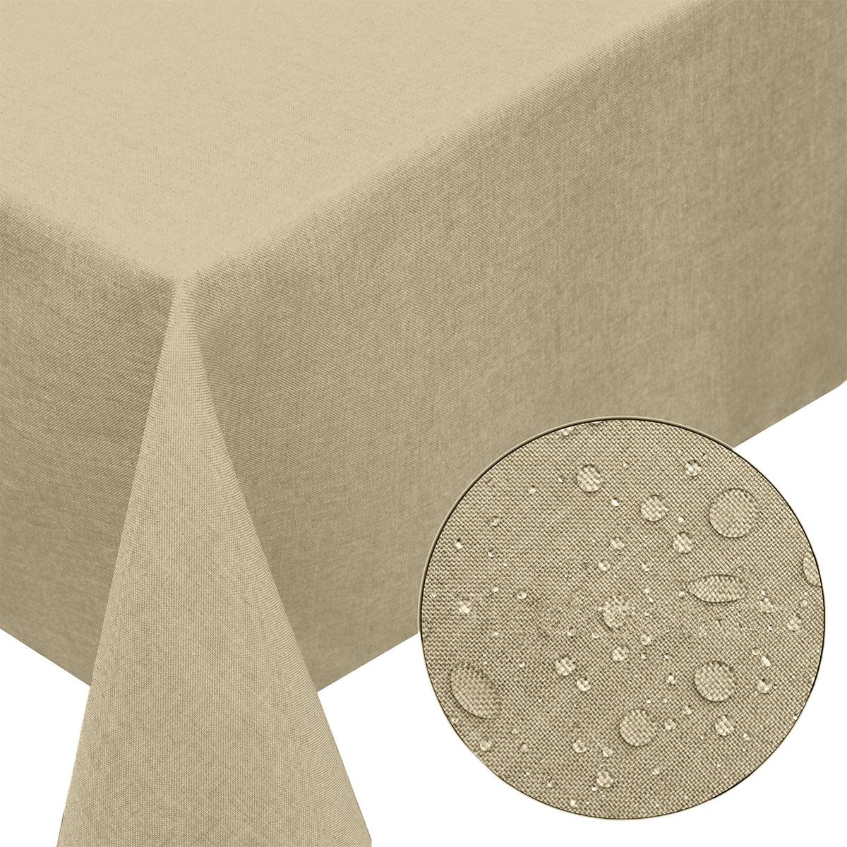 tischdecke leinen optik 130x220cm eckig mit fleck schutz sand. Black Bedroom Furniture Sets. Home Design Ideas