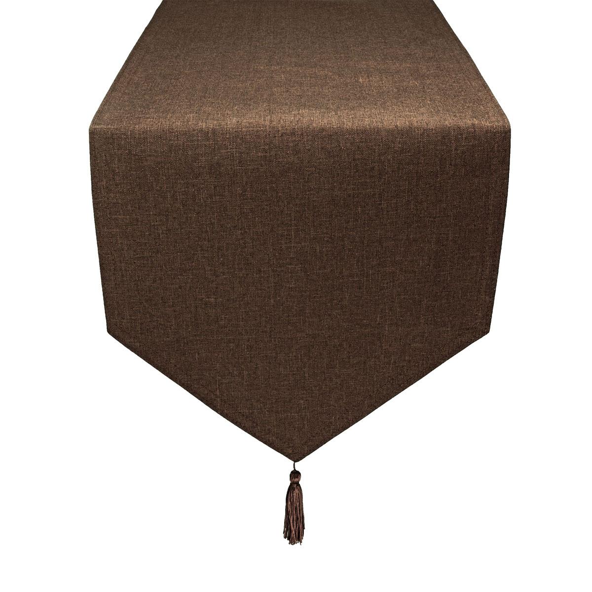 tischl ufer leinen optik dunkelbraun spitz fleckschutz gr e w hlbar. Black Bedroom Furniture Sets. Home Design Ideas